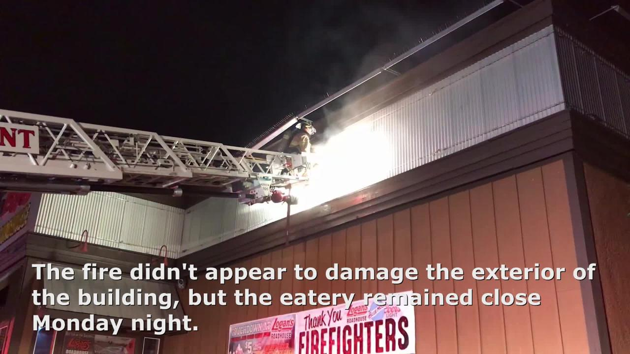 A fire in the attic at Logan's Roadhouse restaurant in Redding forced the eatery to close Monday.