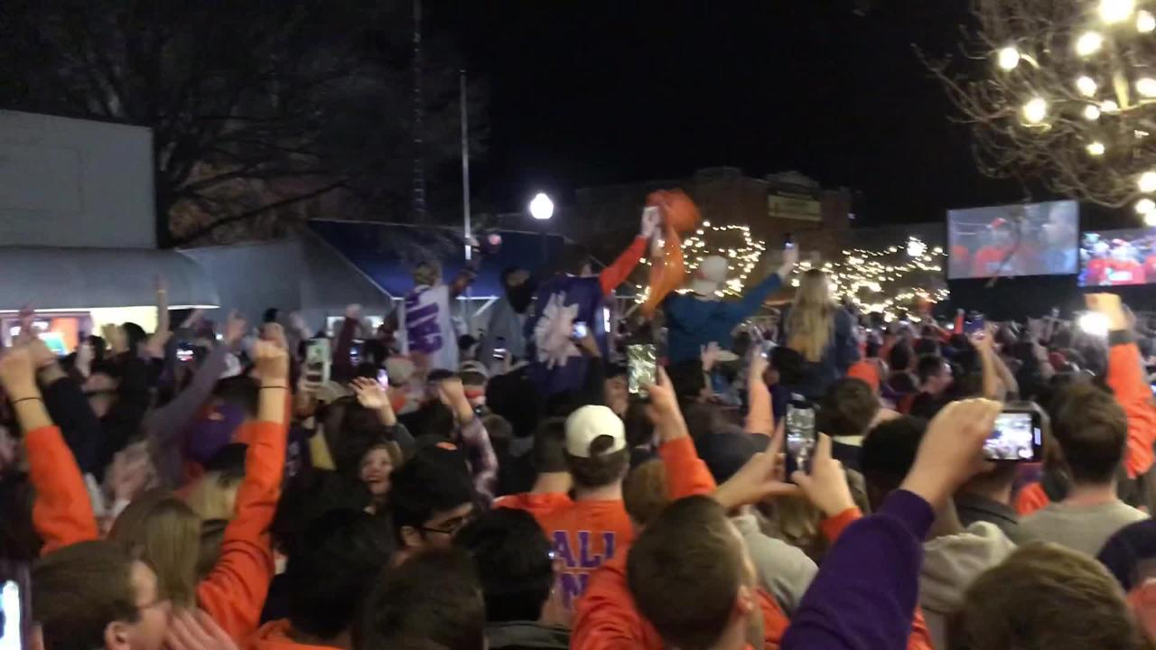 Clemson Tigers fans gathered in downtown Clemson to watch the National Championship game against Alabama.