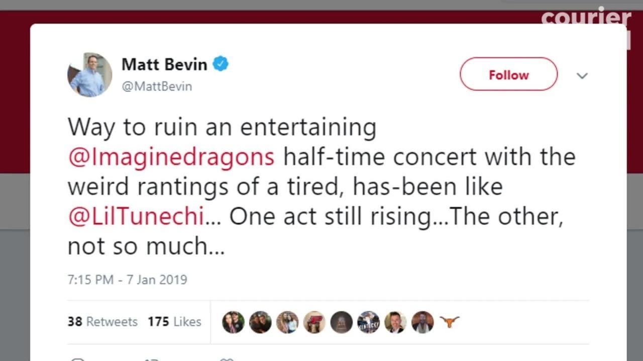Kentucky Gov. Matt Bevin blasted rapper Lil Wayne on Twitter after his halftime performance