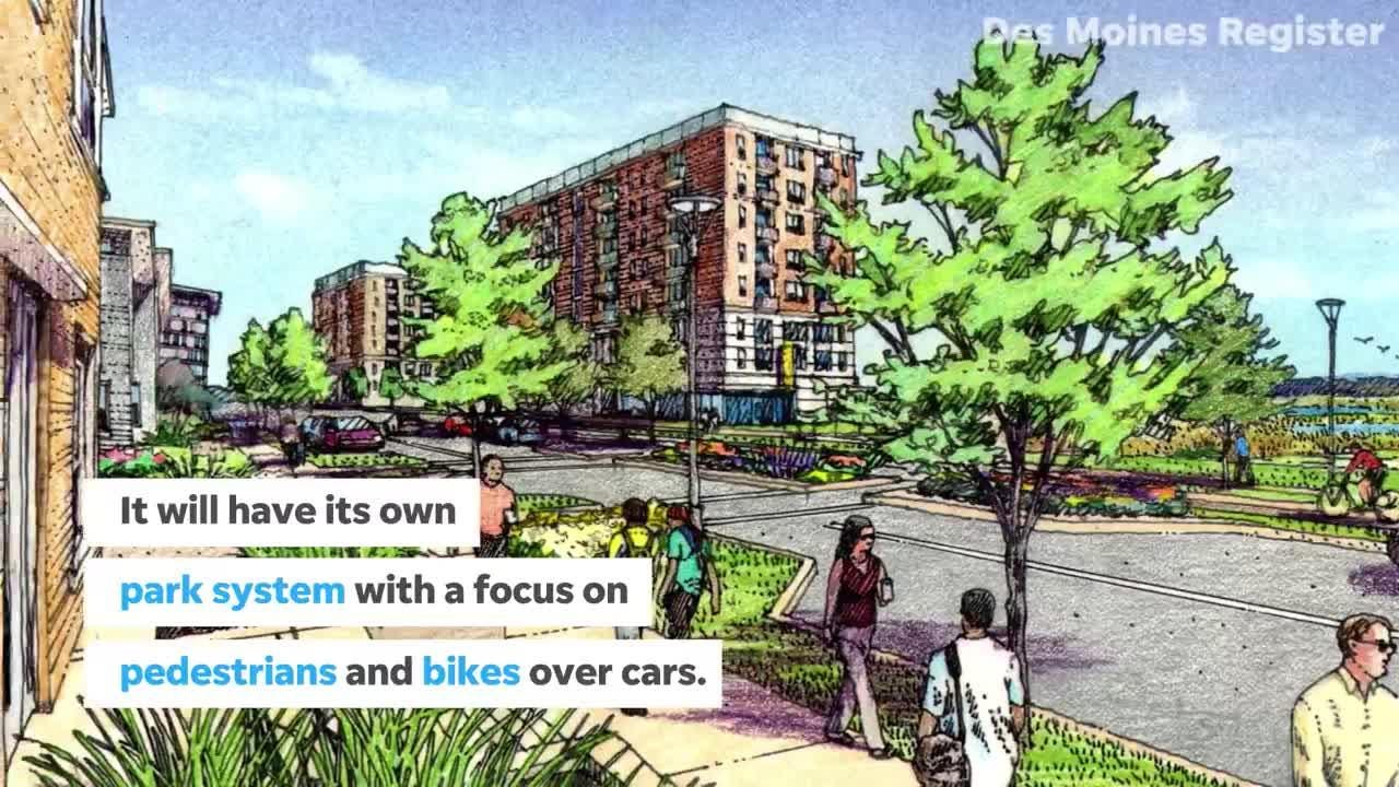 The 75-acre development north of the Raccoon River will have 1,100 housing units and take 20 years to complete.