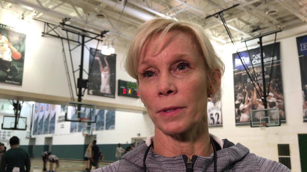 MSU coach Suzy Merchant discusses importance of consistency following her team's practice on January 8, 2019.