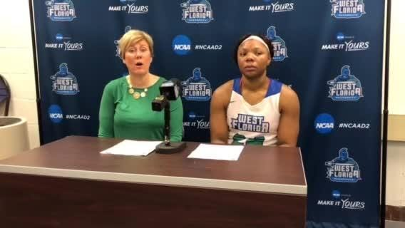 UWF head coach Stephanie Lawrence Yelton and forward Toni Brewer talk about Brewer breaking program's career rebounding record