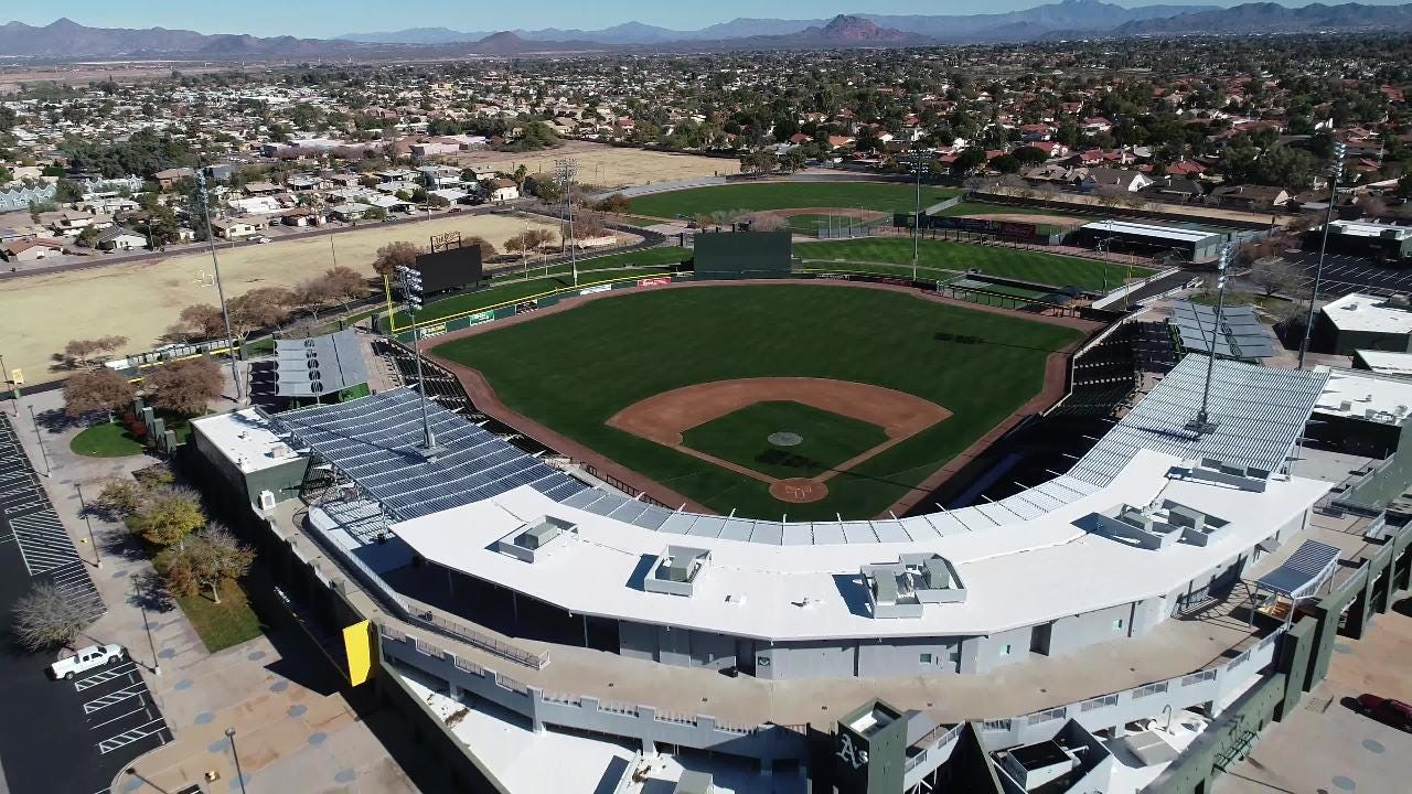 An aerial view of HoHokam Stadium in Mesa. The facility is the Cactus League home of the Oakland A's.