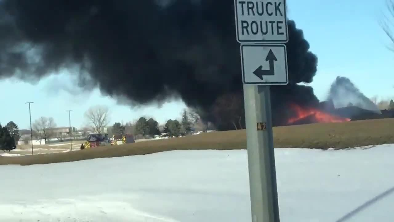 Thick smoke could be seen across Sioux Falls as a golf cart shed caught fire at Elmwood Golf Course. @Ryan_Knudson28 on Twitter