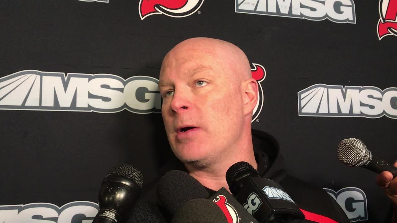 Devils' coach John Hynes updates the status of Marcus Johansson, Mackenzie Blackwood, Cory Schneider, Joey Anderson and Taylor Hall.