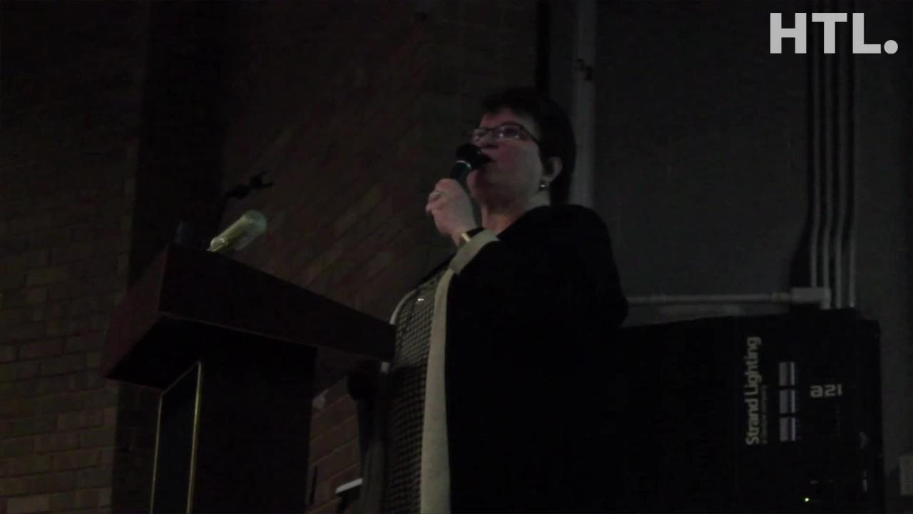 Nancy Darga, a member of Save Hines Park, speaks about Hines Park during a public meeting put on by the group Jan. 9 in Livonia.