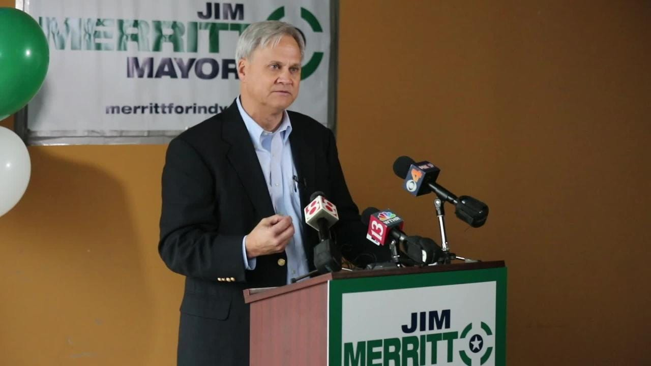Sen. Jim Merritt announces his candidacy for Mayor of Indianapolis during a press conference 3902 N. Illinois Street on Thursday, Jan. 10, 2019.