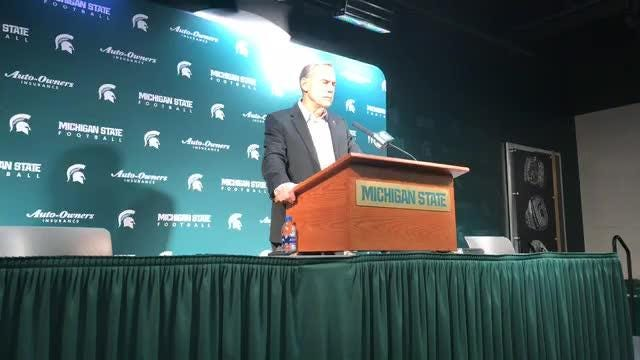 Michigan State football coach Mark Dantonio meets with the media to recap the 2018 season and address coaching changes in the program.