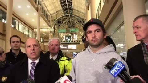 Jersey City Mayor Steven Fulop and Jersey City Police Chief Michael Kelly talk with the media after the Newport Centre mall shooting on Jan. 11, 2019