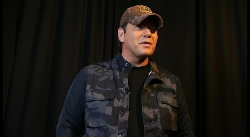 Country singer, Rodney Atkins, does a short interview backstage at the Sunshine State Ball organized by the Junior League of Tallahassee.