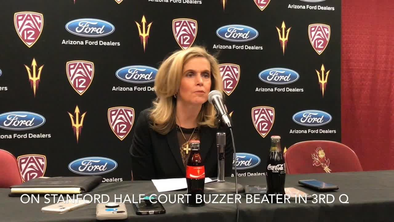 ASU women's basketball coach Charli Turner Thorne talks about the Sun Devils' 72-65 loss to Stanford on Friday at Wells Fargo Arena.