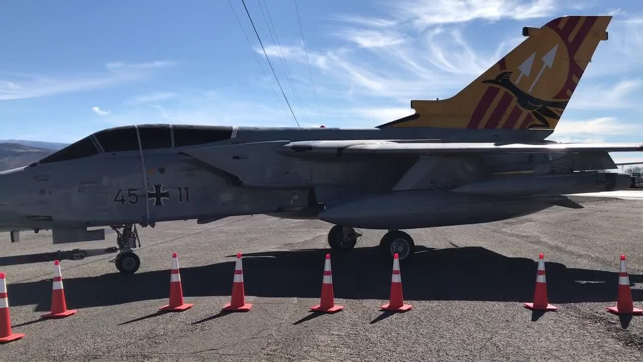 The German Air Force Tornado fighter jet arrives at the Otero County Fairgrounds