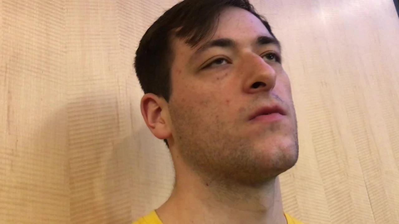 Iowa center Ryan Kriener details his first-half scoring outburst against Ohio State. And where did that 3-point shot come from? Hear what he says: