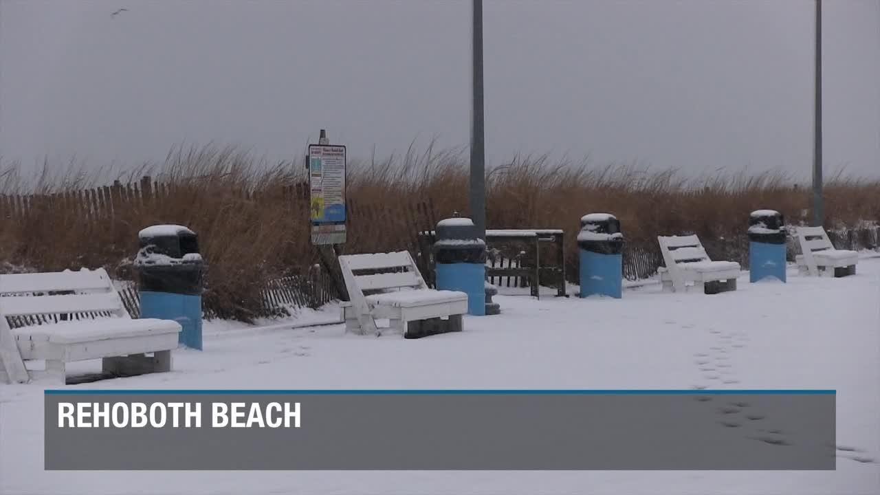 Snow fall around the Delaware Beaches area
