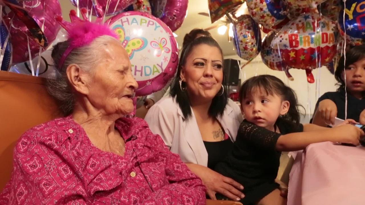 Maria de la Luz Angel Talamantes still walks and sings. She celebrated her 110th birthday Friday.