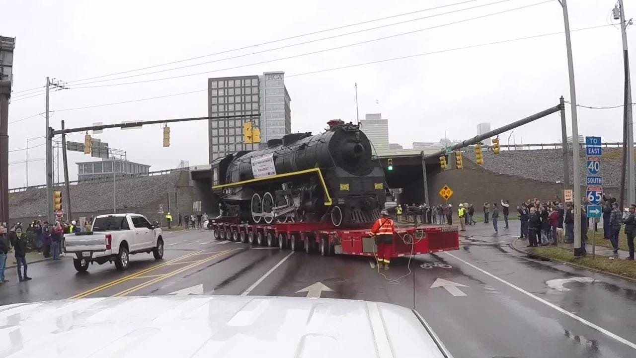 See Go Pro video of steam locomotive No.576's relocation in Nashville