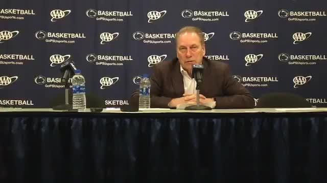 Michigan State coach Tom Izzo says PG Cassius Winston played one of his worst games in 71-56 road victory over Penn State, Jan. 13, 2019.