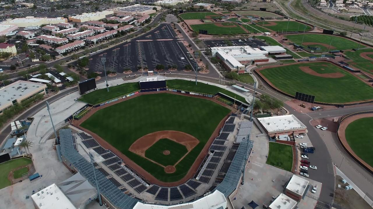 Take a peek inside Peoria Sports Complex. The facility is the spring-training home of the Seattle Mariners and San Diego Padres.