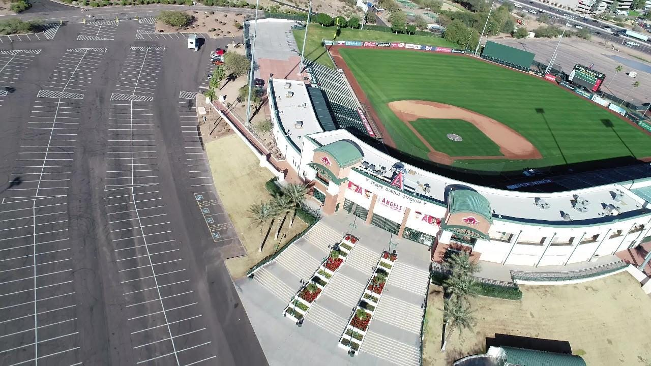 Tempe Diablo is one of the most centrally located parks in the Cactus League. Take a look at the stadium from above.