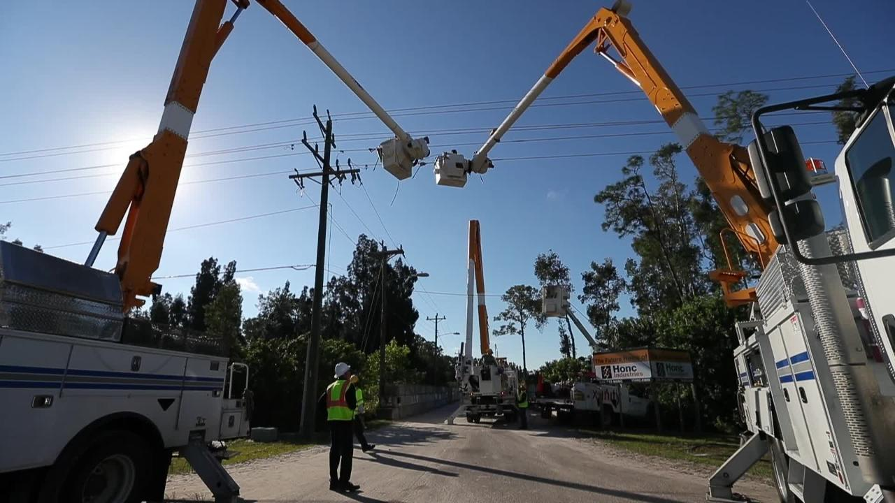 Linemen work to restore electricity to about 2,500 LCEC customers