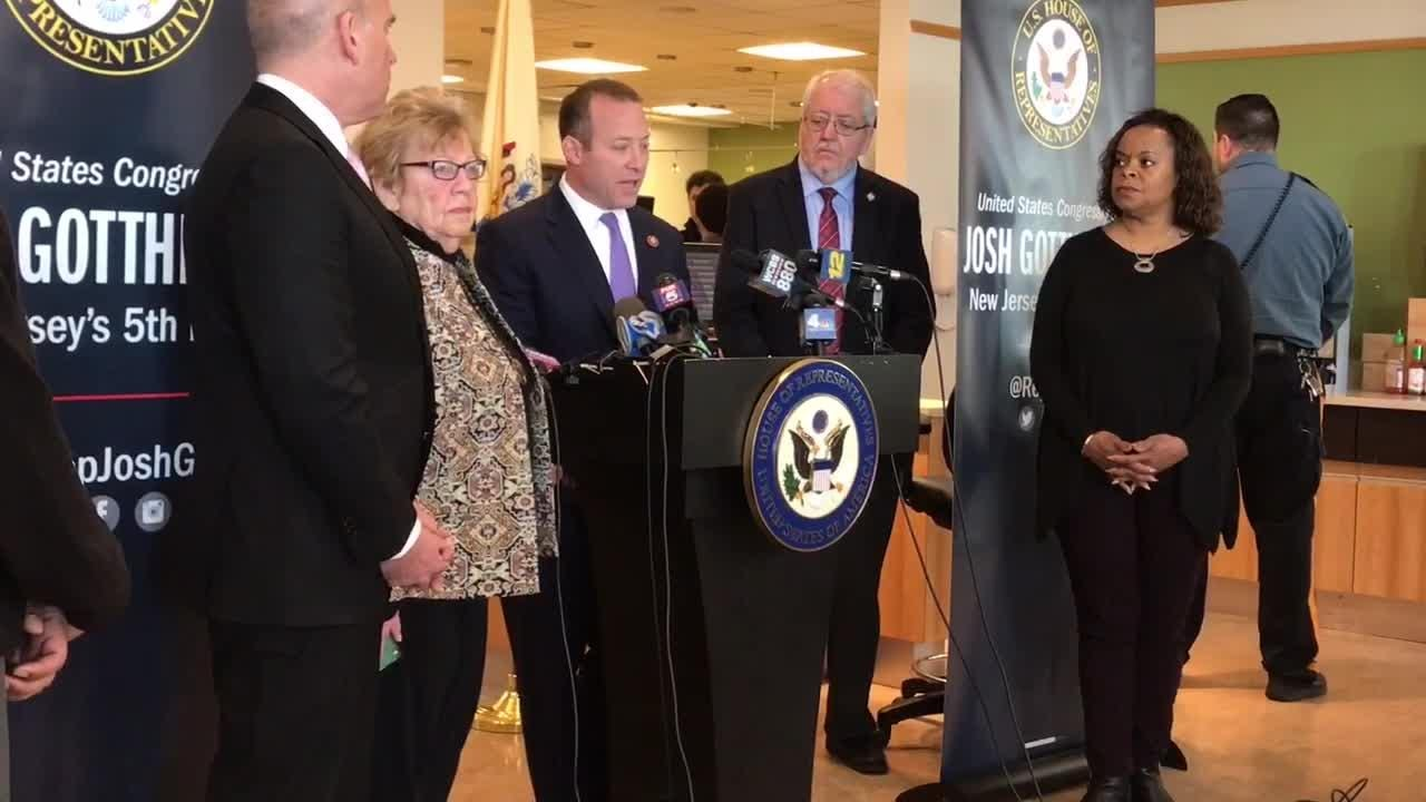 Rep. Josh Gottheimer discusses furloughed FDA employees and national food safety during a press conference at Holy Name Medical Center on Jan. 14.