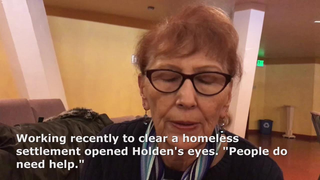 "Helping clear a homeless settlement opened her eyes to the challenges of those without permanent shelter. ""People need help,"" says Corky Holden."
