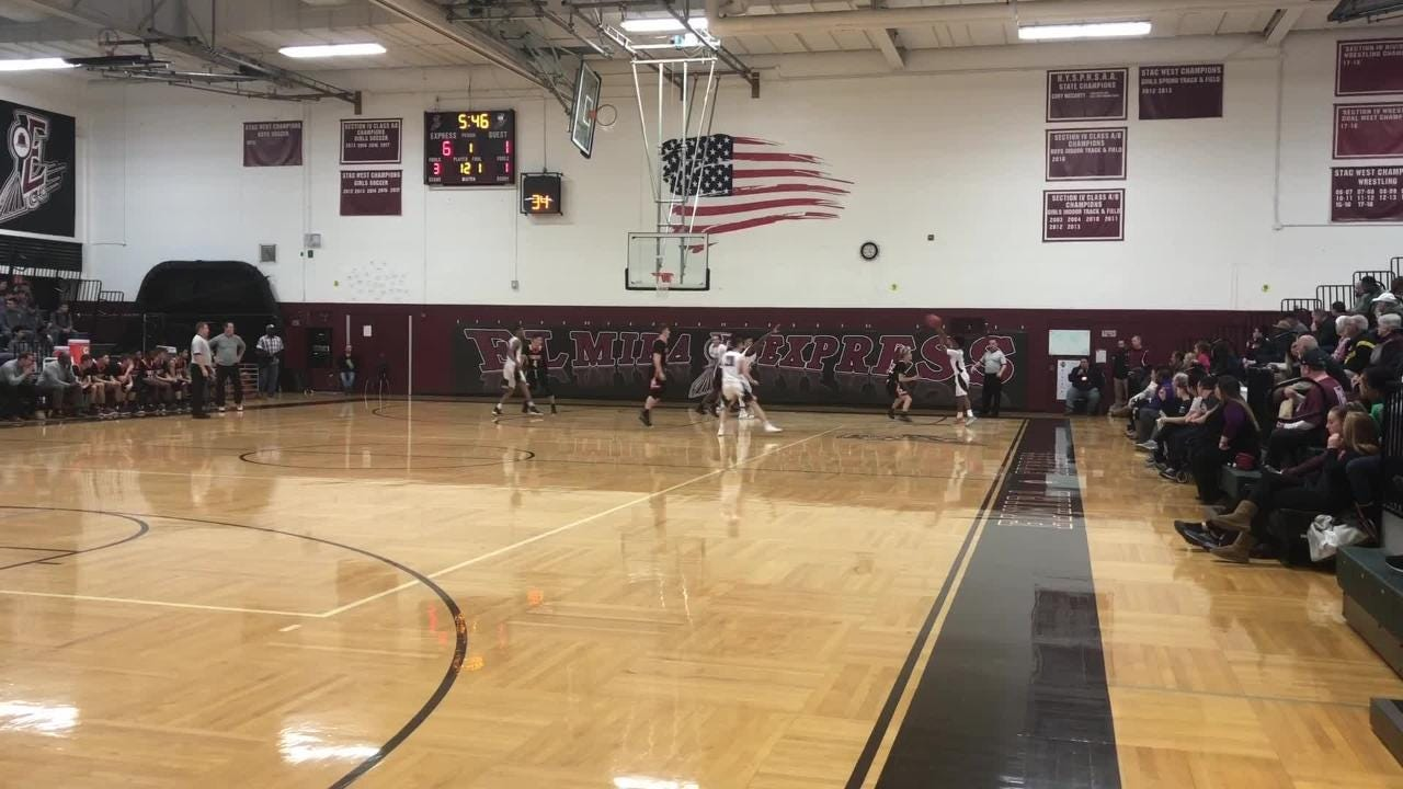 Elmira High scored 54 points in the first half on the way to an 82-39 win over visiting Union-Endicott in boys basketball Jan. 14, 2019.