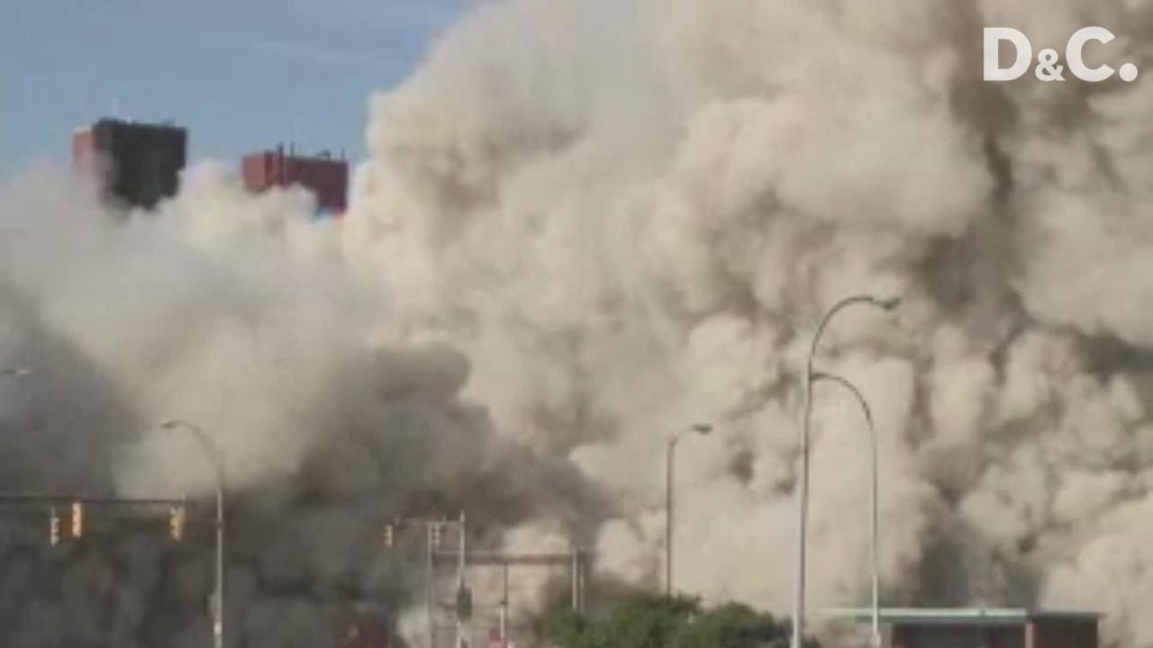 Ground level view of the implosion of Building 9 in Kodak Park. It was demolished on June 30, 2007.