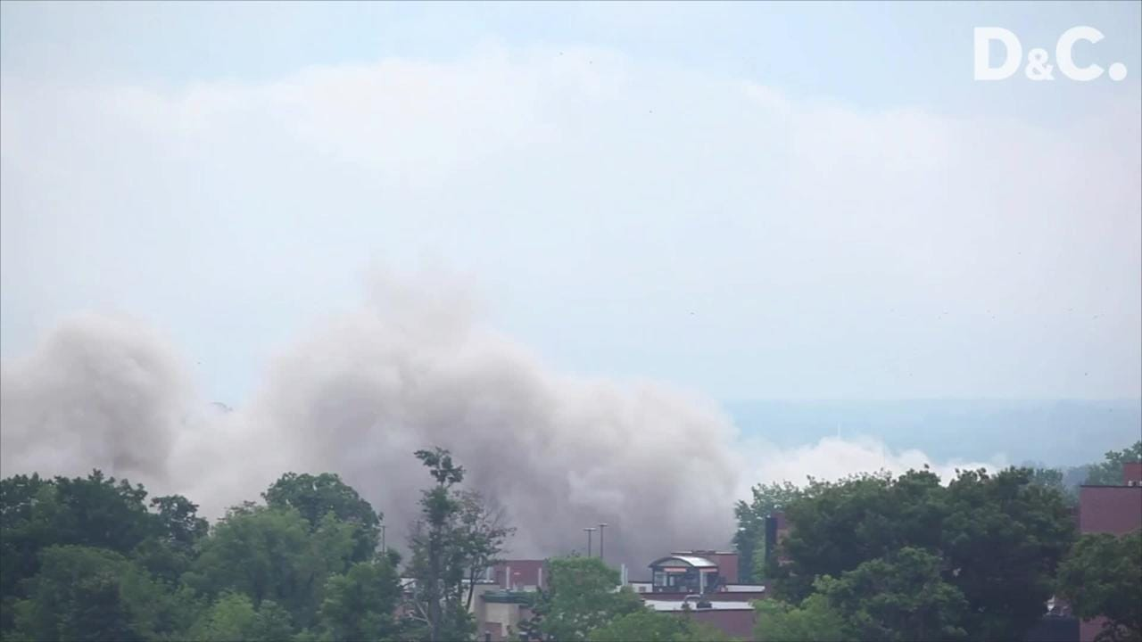 The view of the implosion of St. Ann's Tower, shot with two cameras, from the roof of Keeler Park on 501 Seneca Manor Drive in Rochester. July 28, 2012