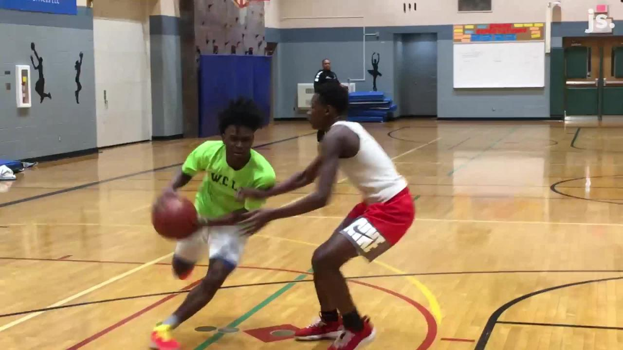 Milwaukee Lifelong Learning High School's standout player, Qwan Jackson, who's averaging 45.6 points per game, shows a few moves during practice.