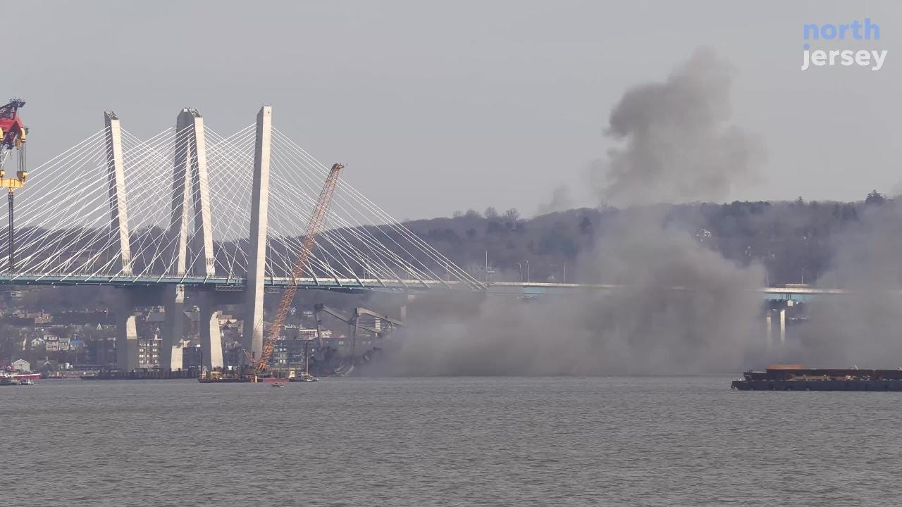 One of two remaining sections of the Tappan Zee Bridge was demolished by explosives the morning of Jan. 15, 2019.