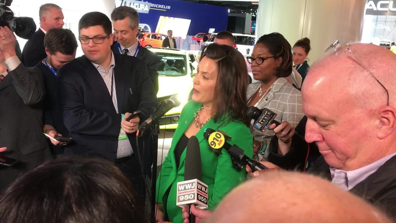 Michigan Gov. Gretchen Whitmer talks about the freedom of the road during a tour of the 2019 North American International Auto Show.