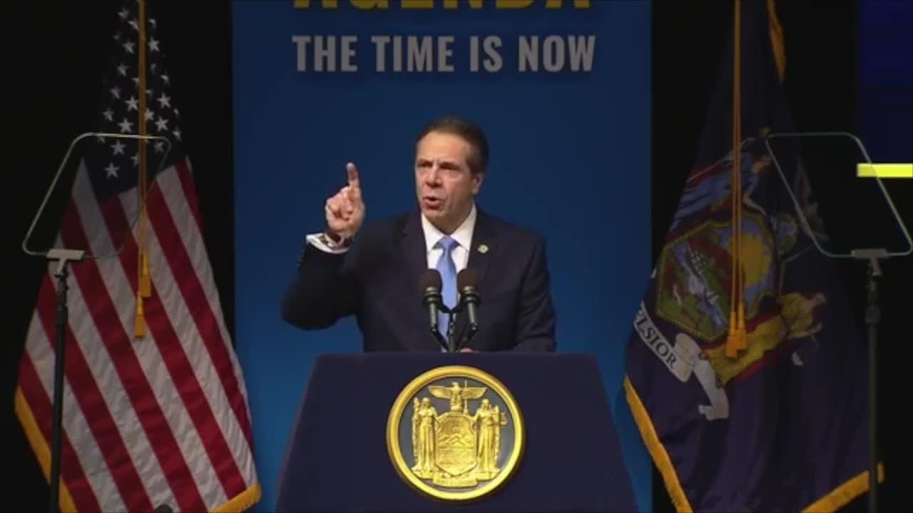 Gov. Andrew Cuomo closes out his 2019 State of the State address at The Egg theater in Albany on Tues., Jan. 15, 2019.