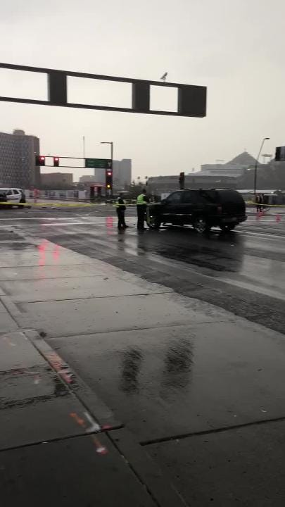 The intersection of University Drive and Rural Road in Tempe was shut to traffic Tuesday afternoon after a police SUV and a car collided.