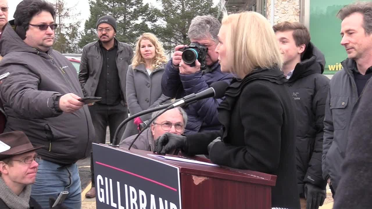 Sen. Kirsten Gillibrand speaks to reporters on Wed., Jan. 16, 2019, about her previous pledge to serve a full Senate term.