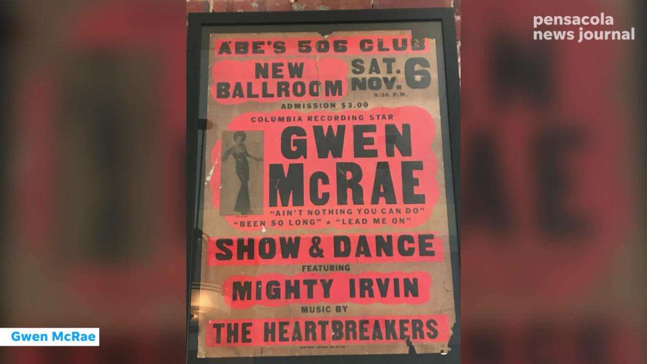 Sisters Blues Cafe is displaying a collection of authentic show posters from owner of Gussie's Record Shop, Ms. Gussie Streeter.