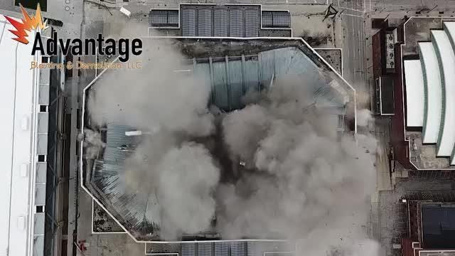 The Bradley Center roof explosion as seen from inside the facility in video supplied by Advantage Blasting and Demolition.