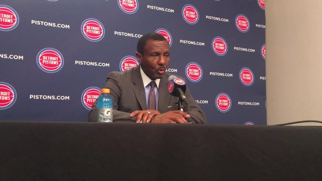 Detroit PIstons head coach Dwane Casey talks about his team's physical play vs. the Orlando Magic on Wednesday, Jan. 16, 2019 at Little Caesars Arena in Detroit.