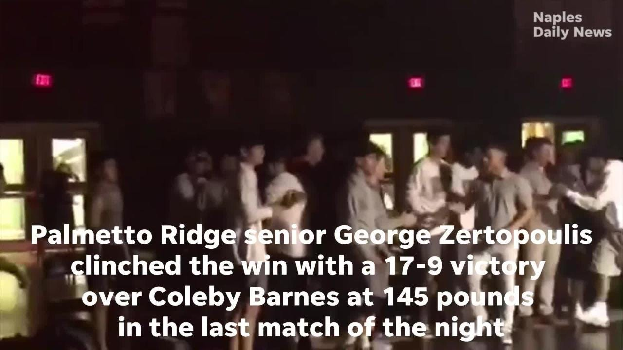 Victory by George Zertopoulis at 145 pounds clinches Palmetto Ridge's regional semifinal win over Riverdale