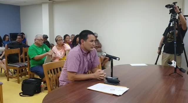 Nominee for Chamorro Land Trust Director, Jack Hattig III speaks to the Chamorro Land Trust Commission during a meeting on Jan. 17, 2019.