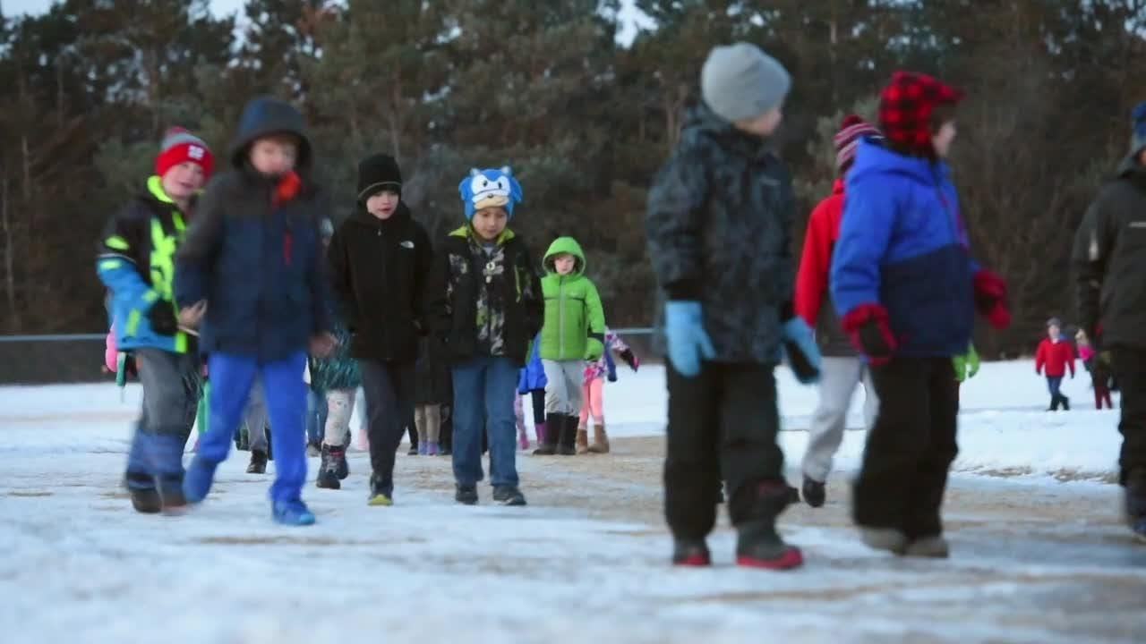 Clearview Elementary School students walk every day before school.