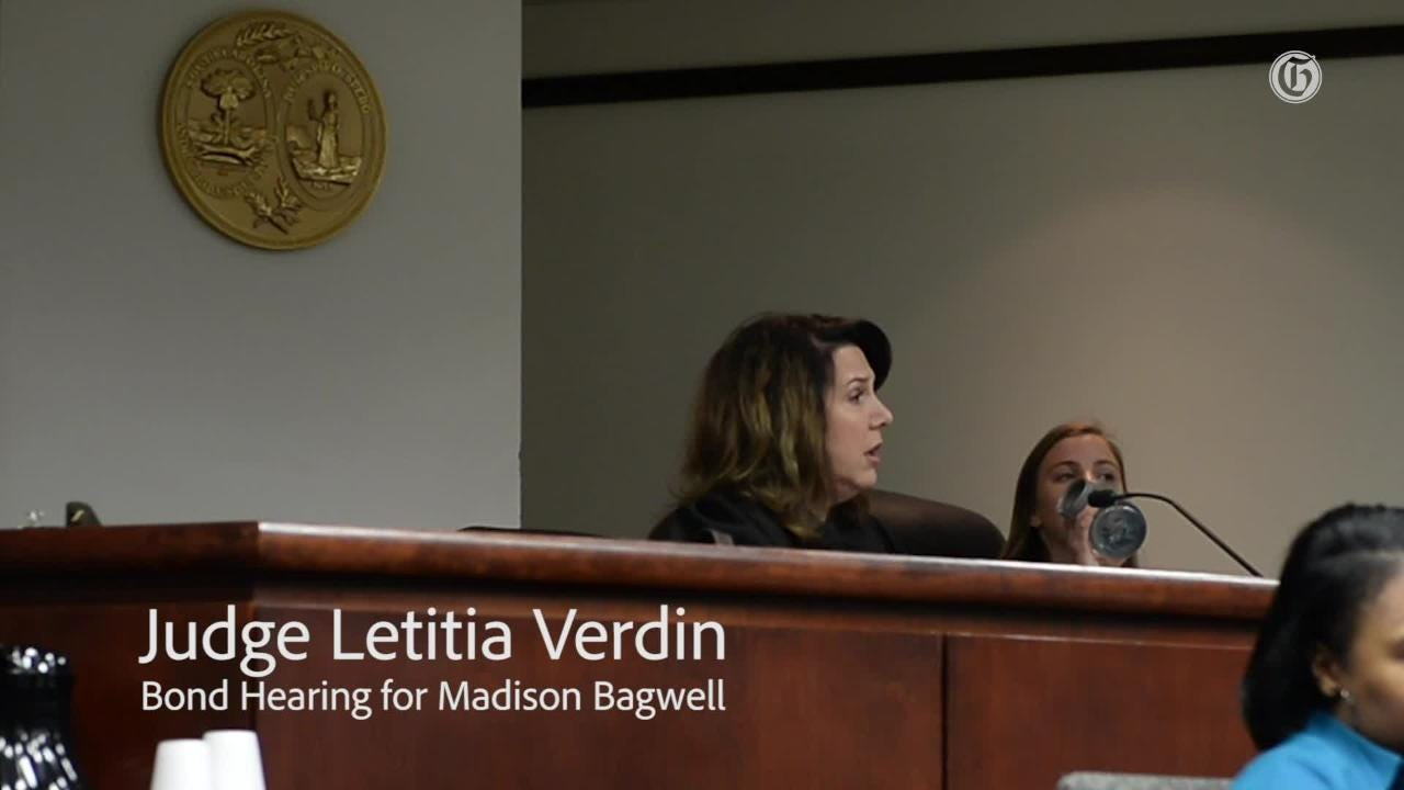 Judge Letitia Verdin presides during a bond hearing for Madison Bagwell at the Greenville County Courthouse on Thursday. Jan. 17, 2019.