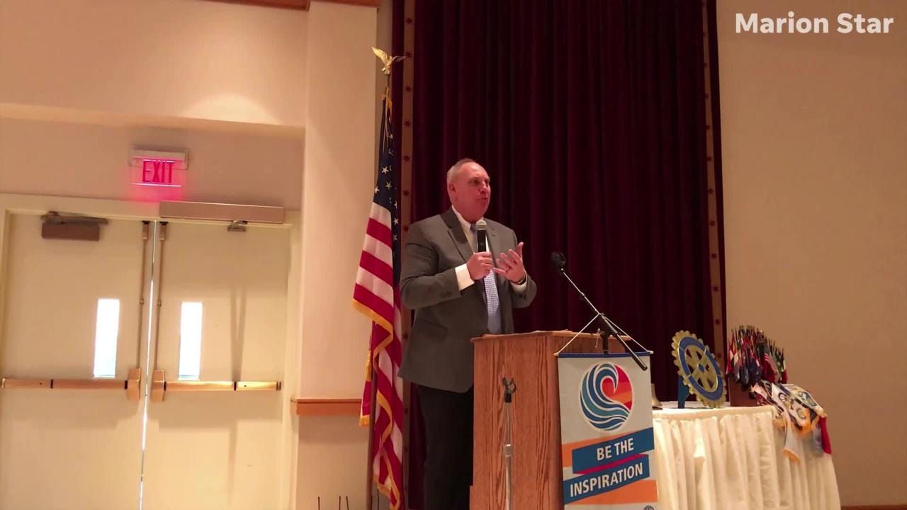 OHSAA Executive Director Jerry Snodgrass speaks to those at the Rotary Club luncheon Tuesday at the Palace.