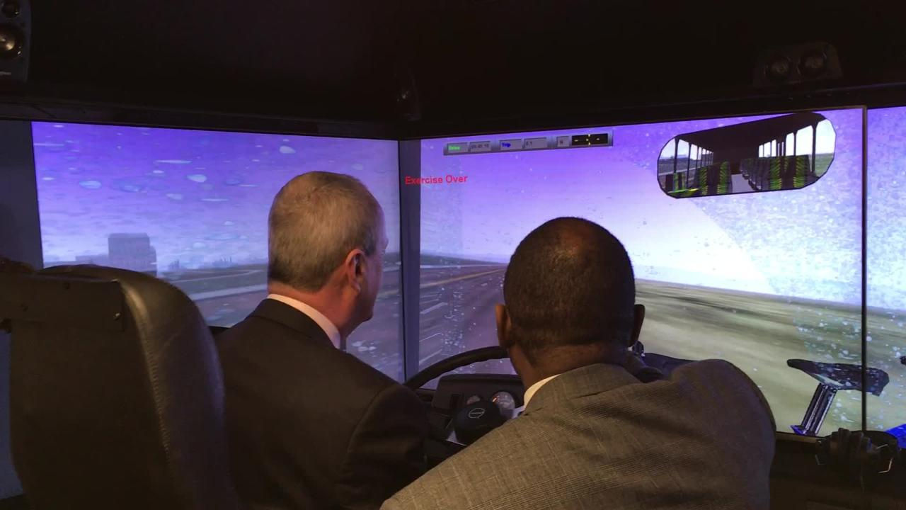 Gov. Phil Murphy tries out the bus simulator used to train NJ Transit drivers at the agency's training center in Newark on Thursday, Jan. 17, 2019.