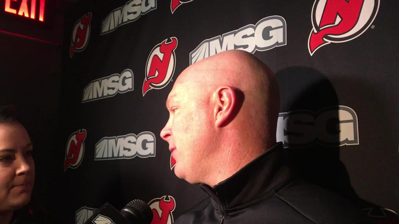 John Hynes talks about the atmosphere of the Nassau Coliseum after the Devils' morning skate on Thursday.
