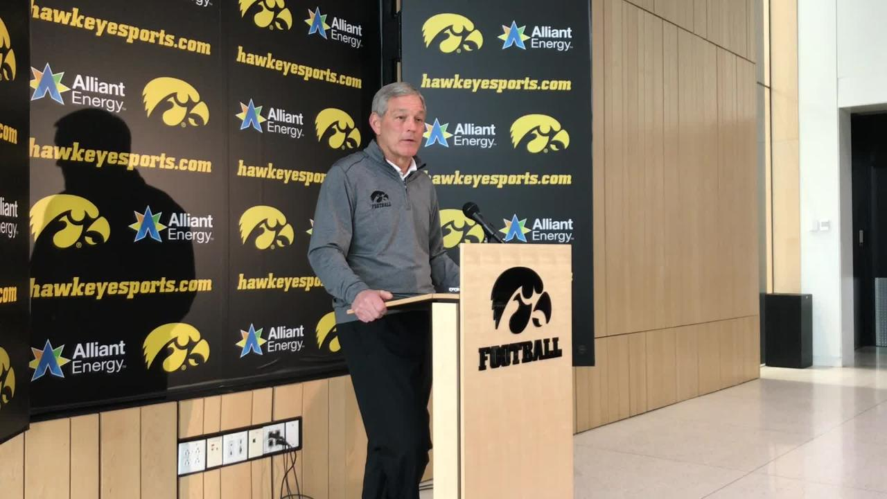 Iowa coach Kirk Ferentz talks about a lack of depth on defensive line and at tight end