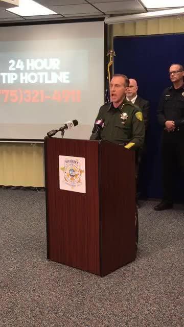 Washoe Sheriff Darin Balaam addresses the murder of an elderly couple in their south Reno home. Their bodies were found Jan. 16.