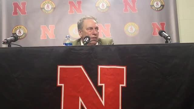 Michigan State coach Tom Izzo talks to the media after the No. 6 Spartans' 70-64 win at Nebraska on Thursday, Jan. 17, 2019.