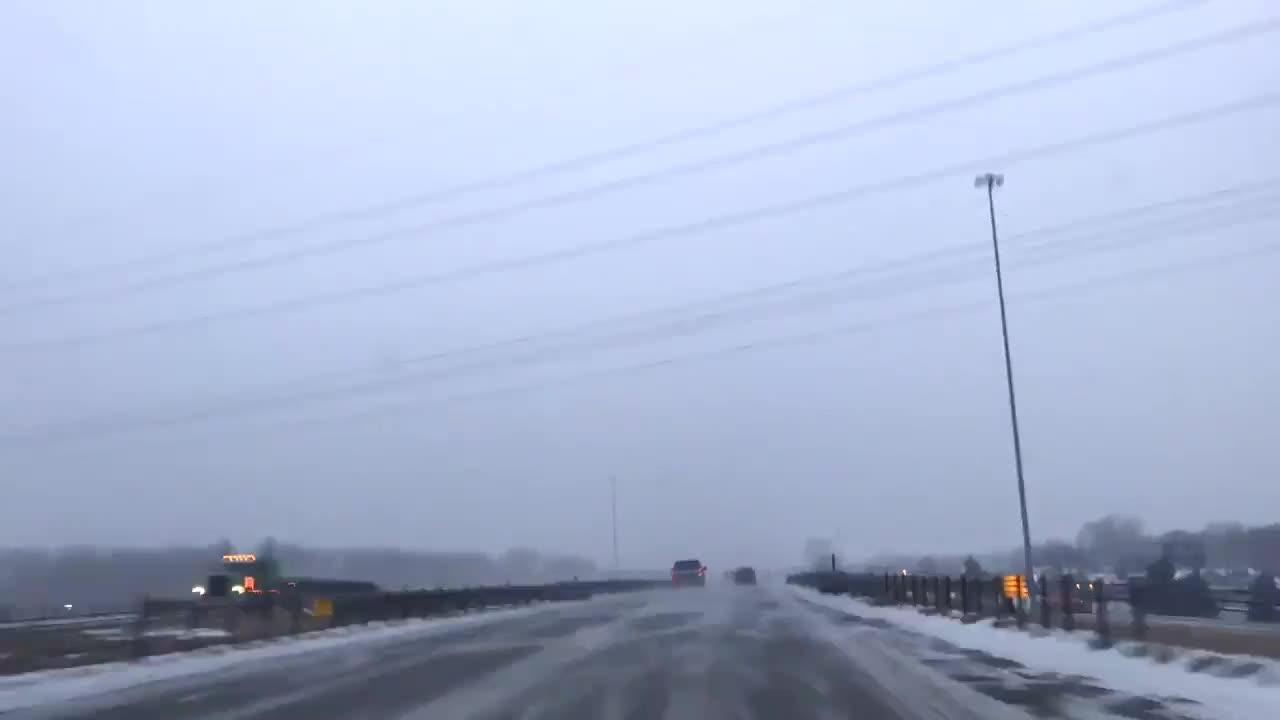 Traffic conditions on I-229 as snow starts to fall Jan. 18.