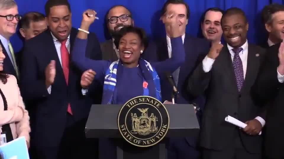 Senate Majority Leader Andrea Stewart-Cousins, D-Yonkers, joked Jan. 14, 2019, about how Democrats won't need Republicans to pass bills anymore.